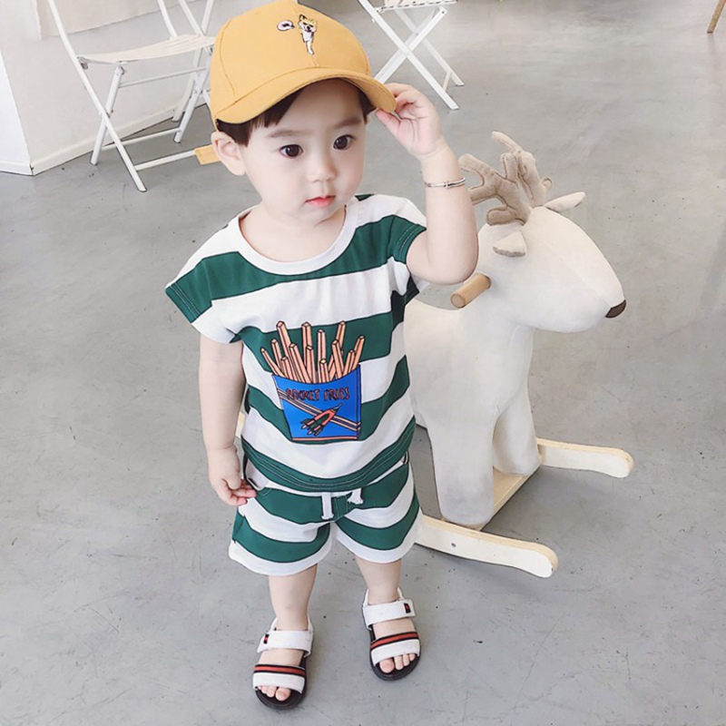 2PCS Suit Baby Boy Clothes Children Summer Toddler Boys Clothing Set Cartoon French Fries Style Triped Tops Shorts Clothes Sets2PCS Suit Baby Boy Clothes Children Summer Toddler Boys Clothing Set Cartoon French Fries Style Triped Tops Shorts Clothes Sets