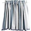 Средиземноморская полиэфирная смесь Короткая занавеска синяя и белая полосатая занавеска для двери занавес для пыли украшение для занавес...