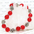 Original design natural 8mm round beads red jade jasper bracelets Tibet silver-plated spacer jewelry making 7.5inch B2056