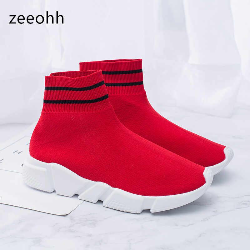 e86d44d56 Zeeohh мужской носок сапоги Обувь с дышащей сеткой Для мужчин высокие  легкие кроссовки обувь дышащая River