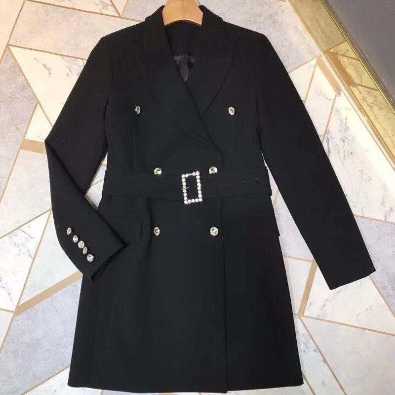 Manches 2018 Élégante Pour Femmes down Nouvelles Collar Mode Manteau Noir Qualité Veste Turn Longues Haute Lady WAZxnqIHnT