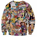 Unisex Women Men 3D Cartoon Sweatshirts Drugs Print Crewneck Weed Leaf Print Sweats Hoodies Winter Spring Autumn Pullover