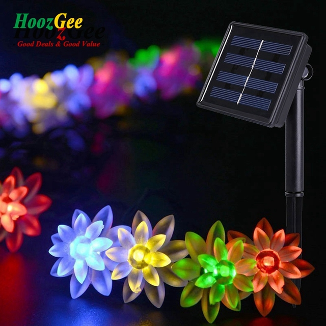 Hoozgee Solar Lighting String Outdoor Garden Fairy Lamp 50 Led Lotus Flower Light For Home Christmas