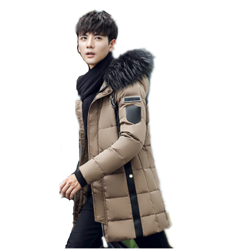 2017 New Winter Thick Warm Down Jacket Casual Long Coat White Duck Down Jackets Collar jackets Men down jacket