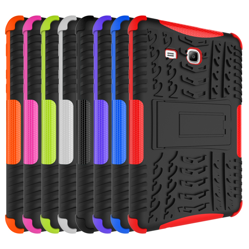 Hybrid Stand Hard PC+TPU Rubber Armor Case Cover For Samsung Galaxy Tab 3 Lite 7.0 SM-T110 T111 T113 T116 Protective Case tire style tough rugged dual layer hybrid hard kickstand duty armor case for samsung galaxy tab a 10 1 2016 t580 tablet cover