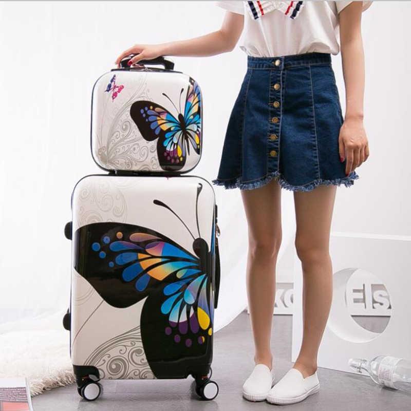 """Carrylove женщины Роллинг багажные наборы 20 """"24"""" дюймов бабочка дорожного чемодана Сумка На Колесиках На Колесах"""