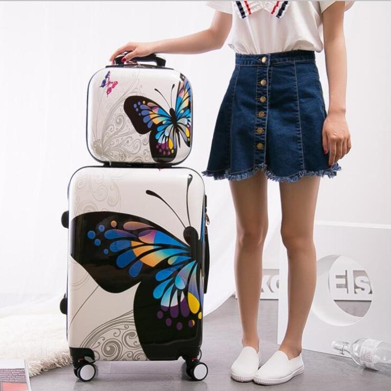 """Carrylove kobiety rolling przechowalnia zestawy 20 """"24"""" cal motyl walizka podróżna wózek torba na kółkach w Walizki od Bagaże i torby na  Grupa 2"""