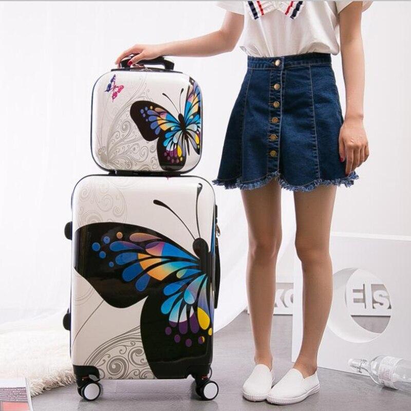 """Carrylove para mujeres juegos de equipaje rodante 20 """"24"""" pulgadas mariposa maleta de viaje bolsa de ruedas-in Maletas from Maletas y bolsas    2"""