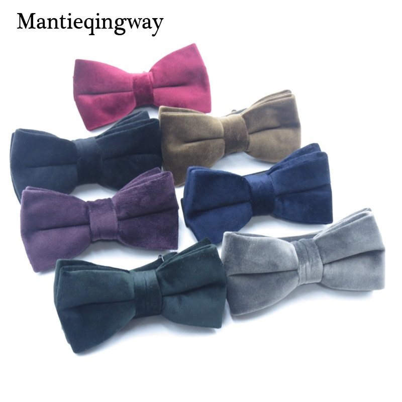 Mens Velvet Bow Ties For Mens Marriage Wedding Double Layer Bowties Shirt Solid Color Black Necktie For Men