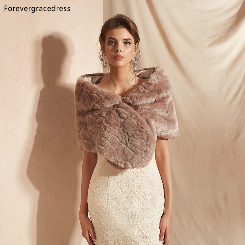 Forevergracedress 2019 Elegant Soft Autumn Winter Faux Fur Bride Wedding Wrap Bolero Jackets Bridal Coats Shawls Scarves PJ305