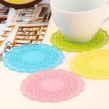 1 шт Нескользящая силиконовая кружевная Цветочная подставка для чашки столовых приборов