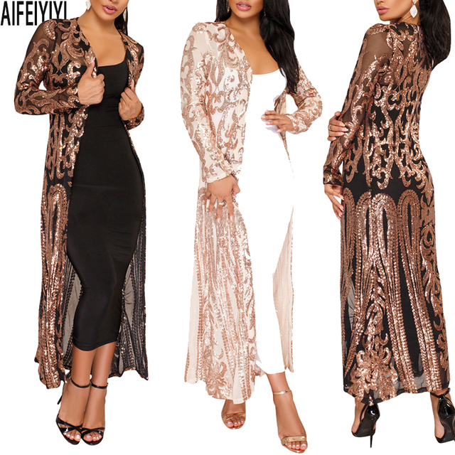 c8ee187ca Plus Size Spring 2019 Hot Summer Kimono Sexy Women Long Sequined Patchwork  Lace Cardigan Chiffon Blouse