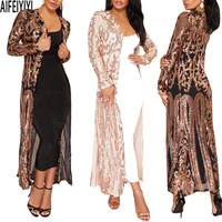 Plus Size Spring 2019 Hot Summer Kimono Sexy Women Long Sequined Patchwork Lace Cardigan Chiffon Blouse Female Clothing Roupas