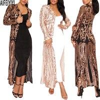 Plus Size Spring 2019 Hot Summer Kimono Sexy Women Long Sequined Patchwork Lace Cardigan Chiffon Blouse Female Clothing Roupas