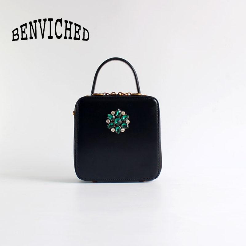 Sac carré en cuir de bovin pour femme 2019 rétro mode femmes diamants noirs sac à main sac à bandoulière unique mini sac c381