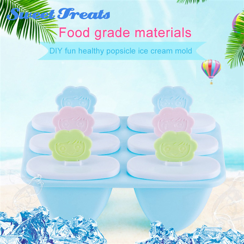 sweettreats 2018 Summe 6 Holes DIY PP Ice Cream Mold Popsicle Molds Ice Tray Cube Tools Frozen Ice Lolly Maker Holder always fresh seal vac