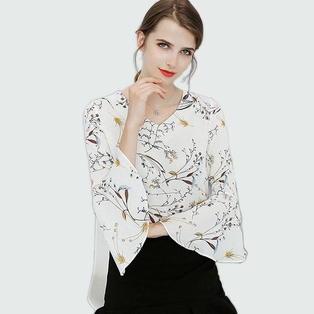 b7b2dafcb0e Spring Style 2018 Floral Shirt For Womens Elegant Office Lady Blouses  Flower Print Chiffon Blouse Plus Size Female Tops