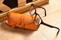 Leather glasses case Vintage roping glasses package Genuine leather glasses box Sunglasses Bag Handmade leather goods