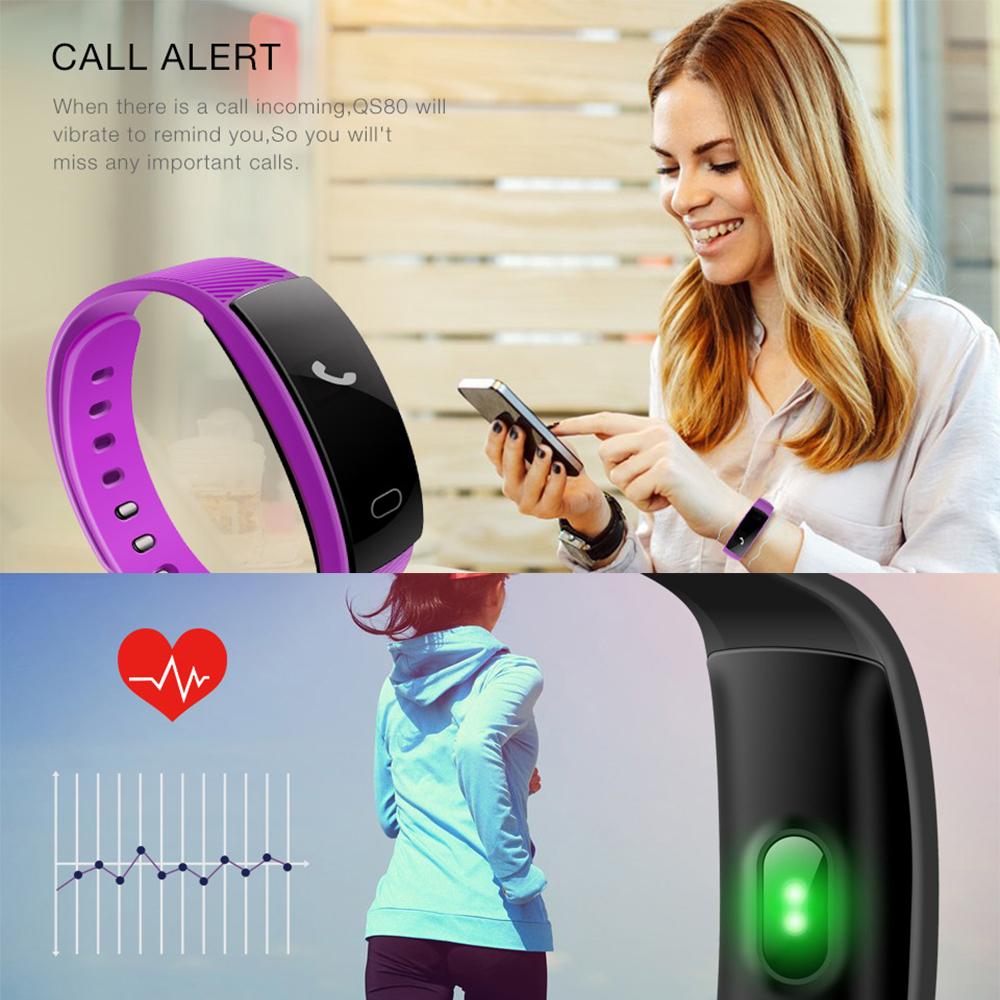 QS80 Bluetooth Smart Band Bracelet Wristband Heart Rate Sedentary Reminder Sleep Monitoring for IOS Android Smartphone