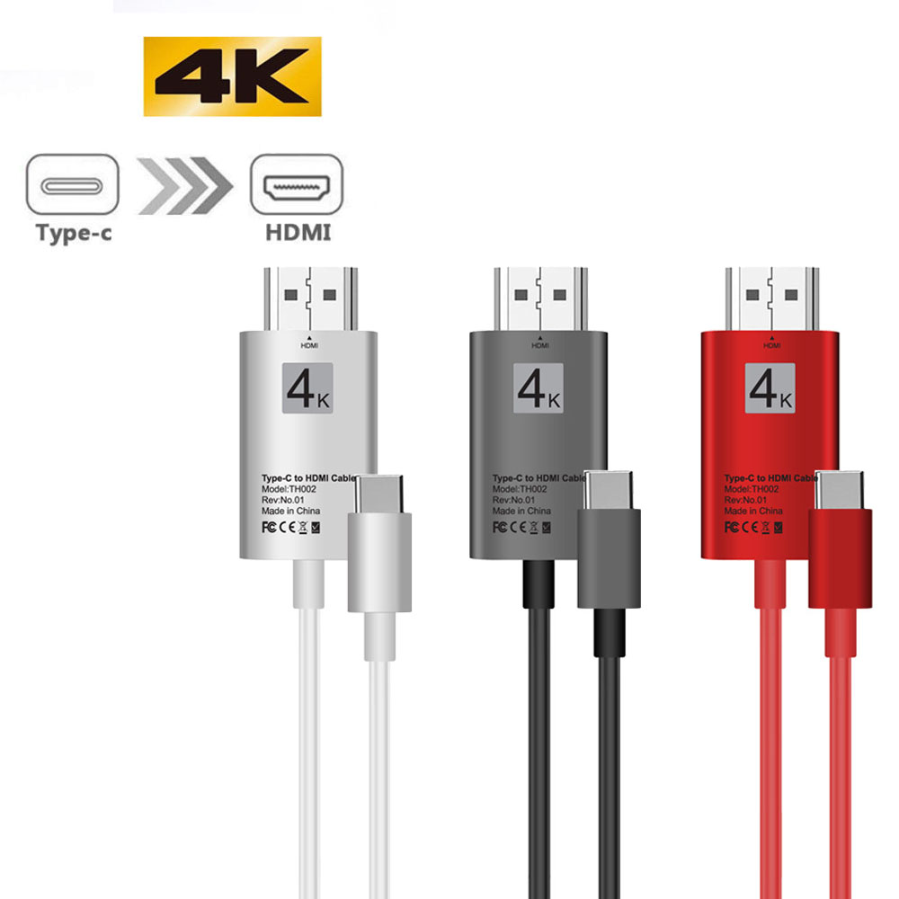 2M 4K USB Type C 3.1 To HDMI HDTV AV Digital Adapter High-Speed Date Sync Cable For Samsung Galaxy S8 S9 Plus Note 8 For Macbook