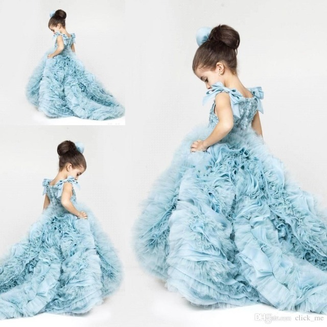 Cute Little Girl Dress Blue Ruffles Puffy Dresses Kids Evening Gowns