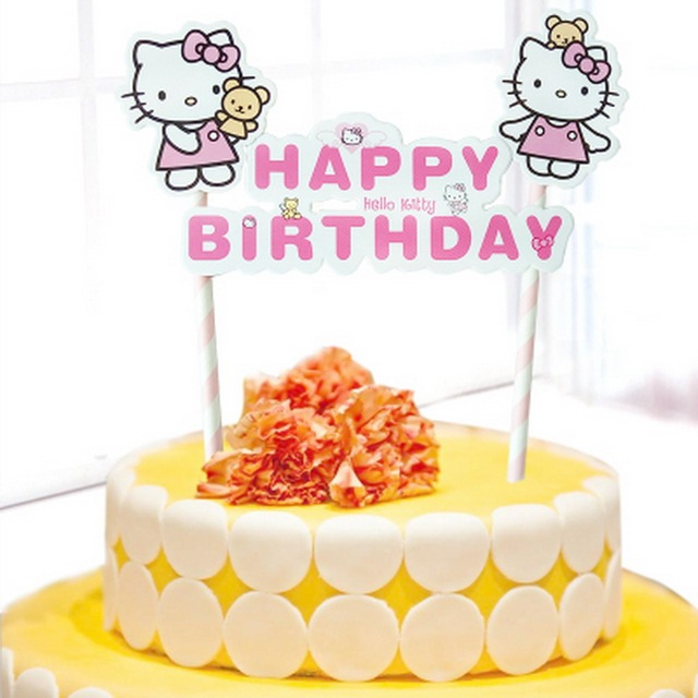 Cupcake Toppers Hellokitty Cake Flags Baby Children Birthday Party Decorations Kids Hellio Kitty Happy