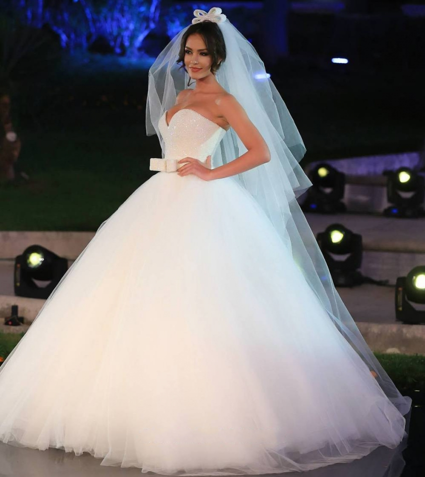 Luxury Crystal Beaded White Ball Gown Wedding Dresses 2016 ...
