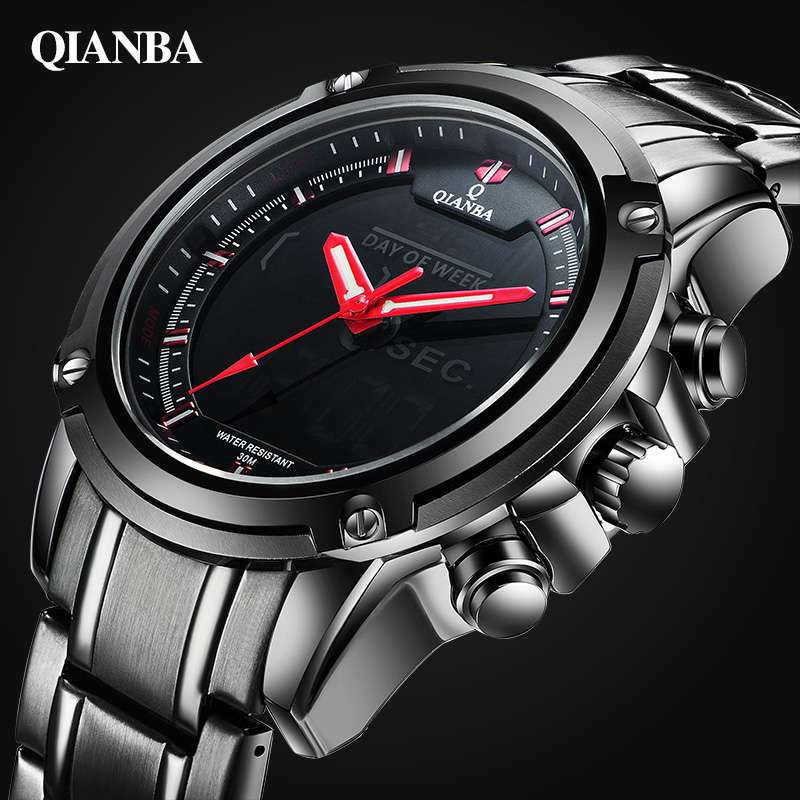 Luxury Brand Men Sports Military Watches For Men's Quartz LED Digital Hour Clock Male Full Steel Wrist Watch Relogio Masculino купить