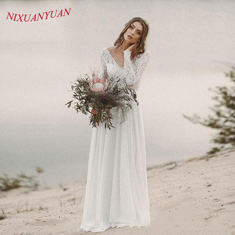 Beach A Line Wedding Dresses V Neck Long Sleeves Deep Illusion V Back White/Ivory Lace Chiffon Bridal Gown Vestido De Novia 2019