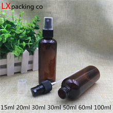 Free Shipping 30 pcs 50 60 100 ml Blown Plastic Spray Pack Bottles Atomizer Container Bank black lid Insecticidal Water packing