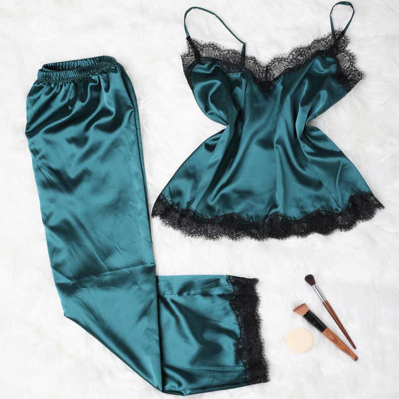 Длинная атласная пижама для женщин, кружевной топ с брюками, зимняя Пижама, шелк Pijama удобная домашняя одежда