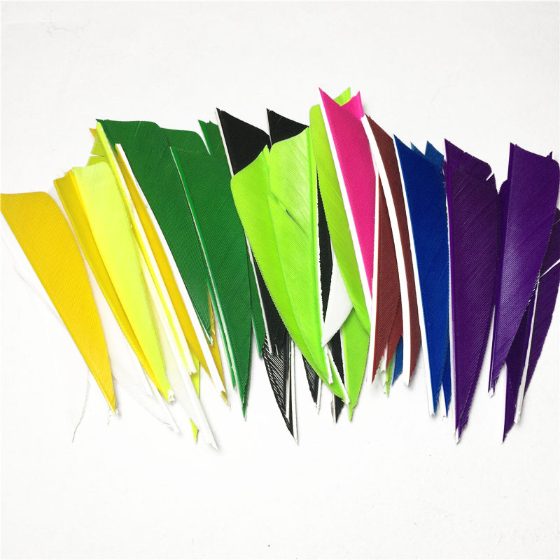 50Pcs 3 inch Shield Turkey Feather 12 Colour High Quality Real Feather Arrow Feathers Vanes Archery hunting archery 12 24pc high quality 30 inch carbon arrow blue turkey feather 20 50 lb outdoor sports