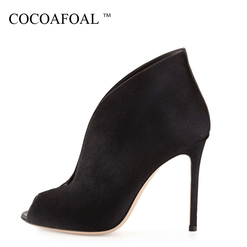 COCOAFOAL Woman Peep Toe Pumps Plus Size 34 - 45 Fashion Sexy 11 CM  Ultra High Heels Shoes Party Stiletto Red Wedding Pumps