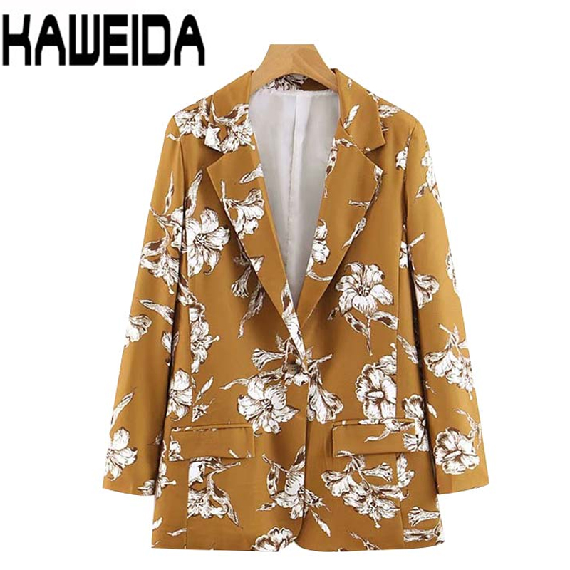 Women Floral Print Notched Collar Long Sleeve Blazer Single Button Pockets Coat Elegant Female Office Wear Tops Dropship
