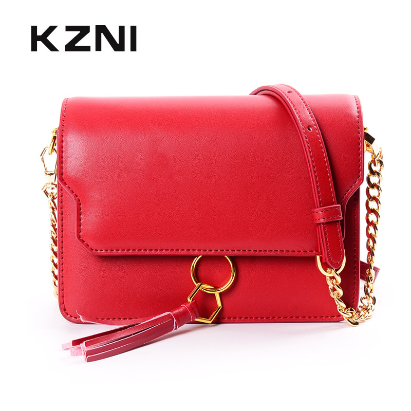 KZNI Genuine Leather Women Handbags Women Small Bag Designer Handbags High Quality Cross Shoulder Bags Female Pochette 9045 kzni real leather tote bag high quality women leather handbags top handle bags purses and handbags bolsa feminina pochette 9057