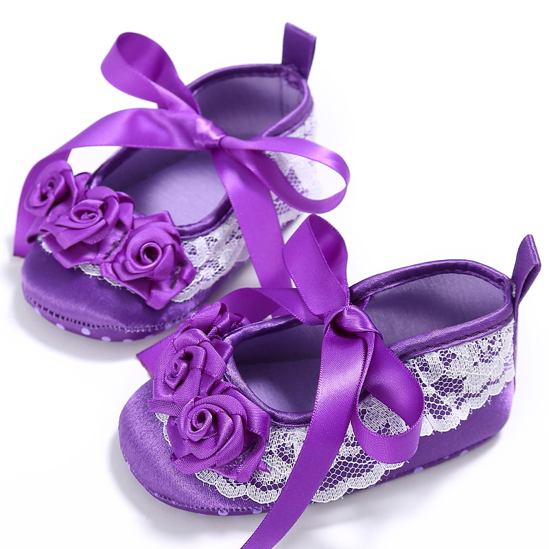 Cute Kid Baby Girl Lace Flower Newborn First Walking Shoes ...