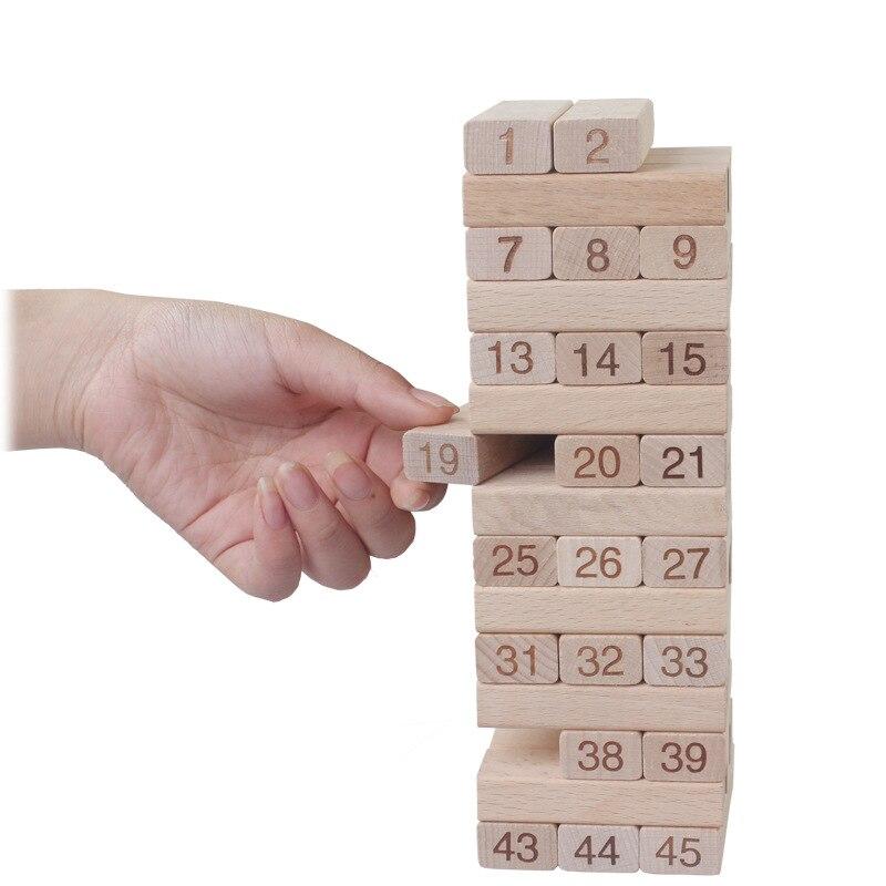 Qualité Hêtre En Bois Tour 51 pièces Bois blocs de construction Domino jeu jenga jouet Amusant Enfants Cadeau jouets de développement
