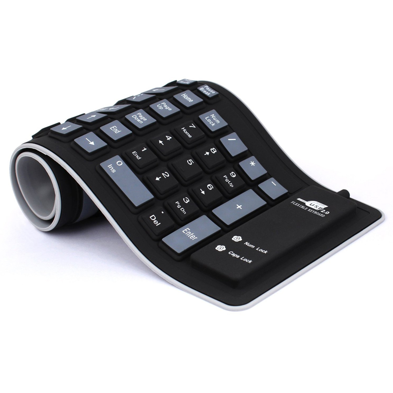 New Foldable Silicone Keyboard USB Wired Silicon Flexible Soft Waterproof Roll Up Silica Gel Keyboard for