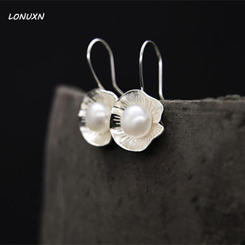 15mm nouvellement doux filles Top qualité 925 argent long femmes mode bijoux naturel perle d'eau douce coquille boucles d'oreilles fait à la main cadeau