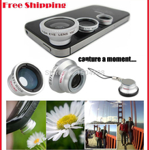 Magnetic 3 in1 Glass Fisheye Fish Eye Lens Wide Angle Macro Mobile Phone Lens Camera Lens