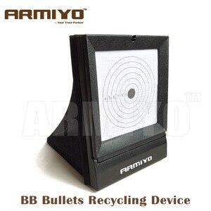 Dispositivo portátil de reciclaje de balas de BB Armiyo objetivo de Airsoft para disparar dispositivo de entrenamiento trampa de red duradera 10 hojas de papel