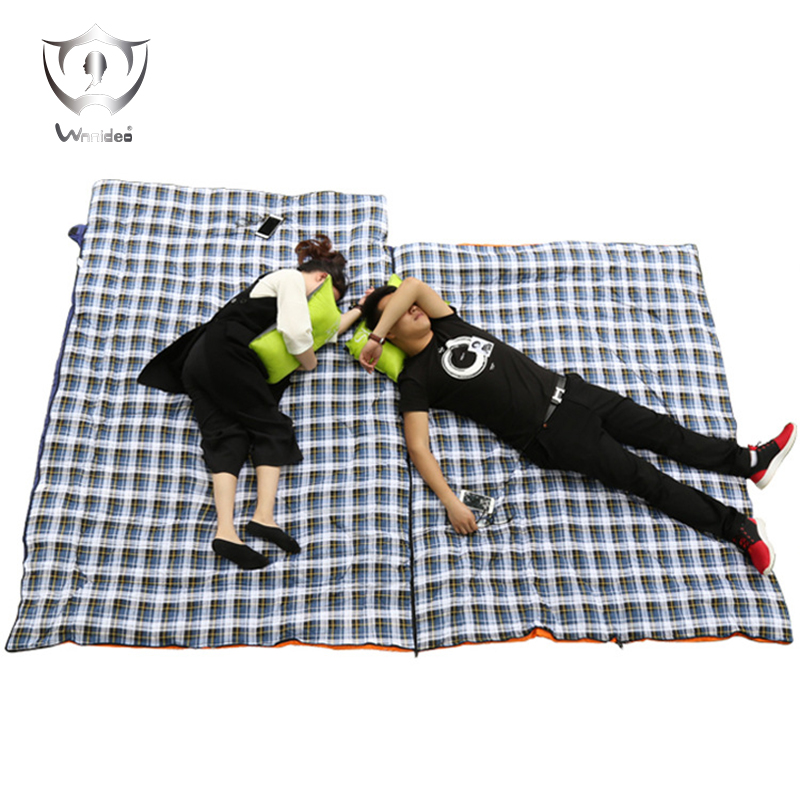 Wnnideo Sleeping Bag for Couple Camping Hiking Traveling Outdoor Flannel Warm Portable Ultralight with Multi-usage ZF6-509 outdoor portable insulated cooler picnic bag 4 person travelset with tableware lunch bag wine bag handle bag for camping hiking