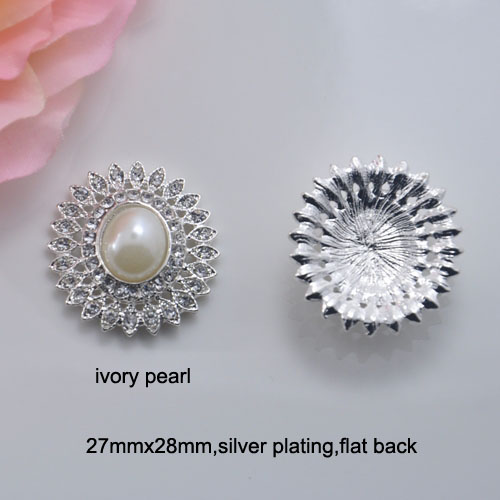 j0622 Oval Shape Clever 27mmx28mm Metal Rhinestone Button silver Or Light Rose Gold Plating