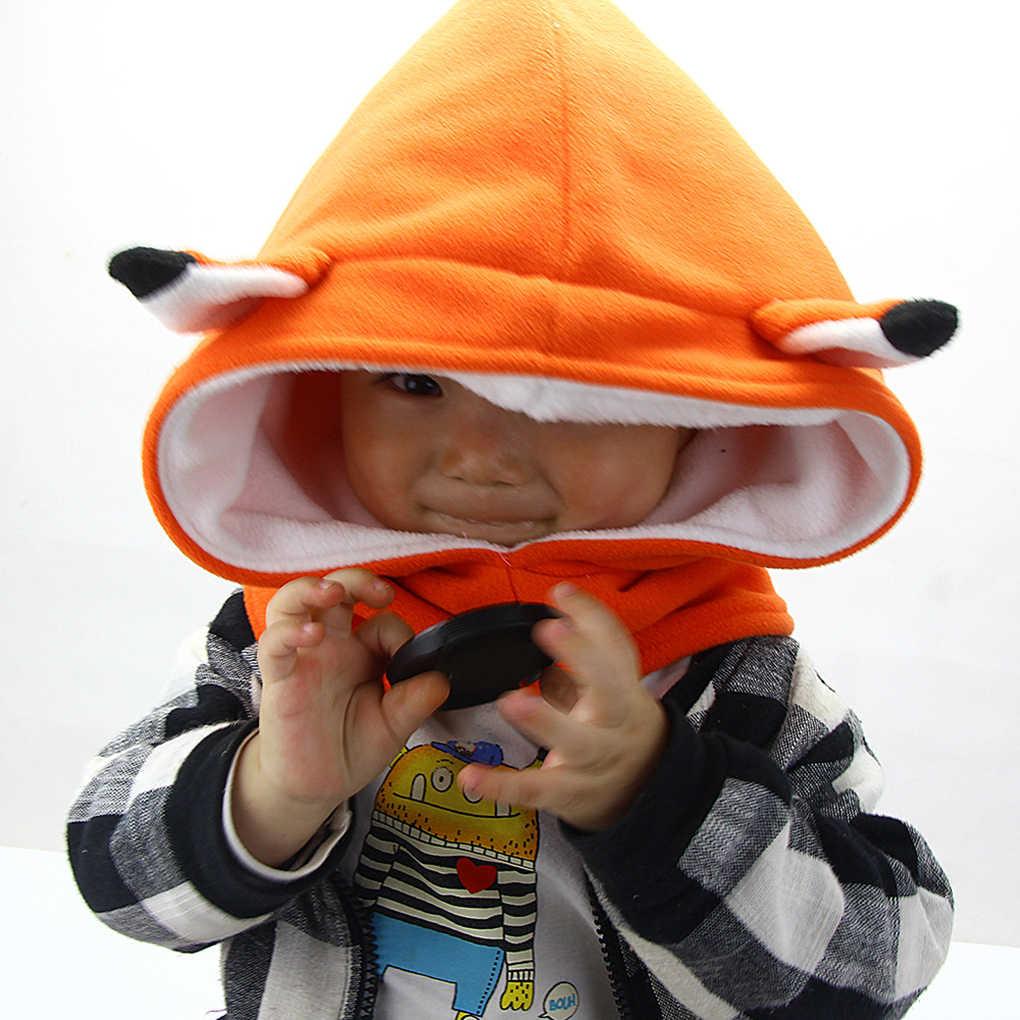 Baby Girls Boys Winter Fleece Hat Scarf Hood Scarves Fox Bear Skull Caps  Kids Toddler Animal Cap Winter Newborn Infant Toddler