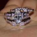 Размер 6-11 женские Серебряные Маркиза-cut Имитация Алмазный Камень CZ Pave Установить Свадебные Три слои Тройной Маска Кольцо Наборы