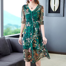 Silk Dress Female 2019 Spring Summer New Style Slim Waist Lace-up Half Sleeves Retro Printed V-Neck Plus Size M-3XL