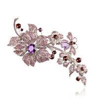 Gorgeous Fioletowy Cyrkon Dynda Broszka Kwiat Kryształ Rhinestone Pin Duża Broszka Stanik Wesele Sukienka Akcesoria z pudełkiem
