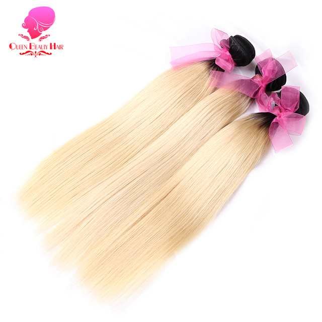 Queen Beauty 134 Pc 1b 613 Ombre Blonde Brazilian Straight Remy