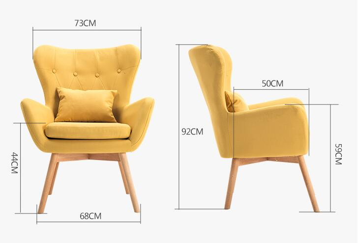 Mid Century Modern Single Sofa Chair With Tufted Back Wood Legs Couch For Living Room Furniture Seat Accent Armchair In Sofas From