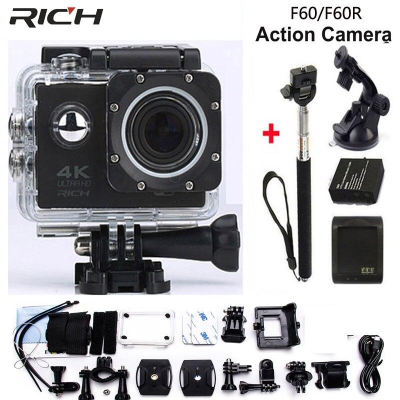 Caméra d'action RICH 4 K Wifi F60 4 K/30fps 1080 P/60fps 720 P/120fps 2.0